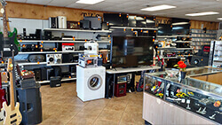 A Pronto Pawn store look inside at electronics.