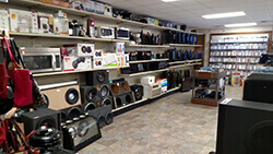 A Pronto Pawn store look inside at their electronics.